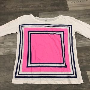 J.Crew Neon Pink Color Block Square Short Sleeve T